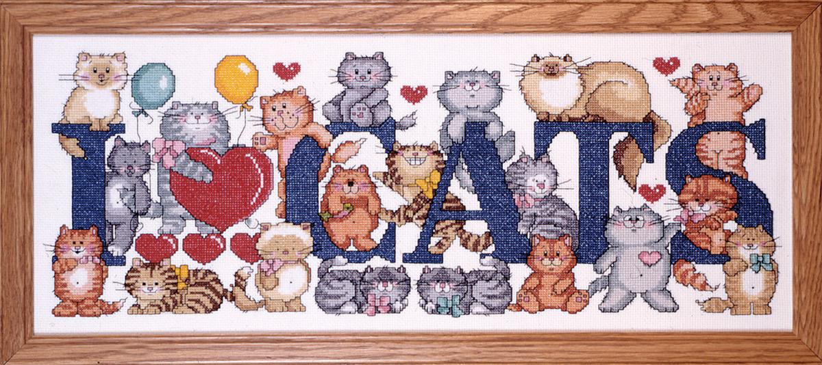 Набор для вышивания крестом Design Works Я люблю кошек, 23 х 56 см9258Канва Аида 14 (100% хлопок), нитки мулине (100% хлопок), игла, подробная инструкция со схемой вышивки на русском языке