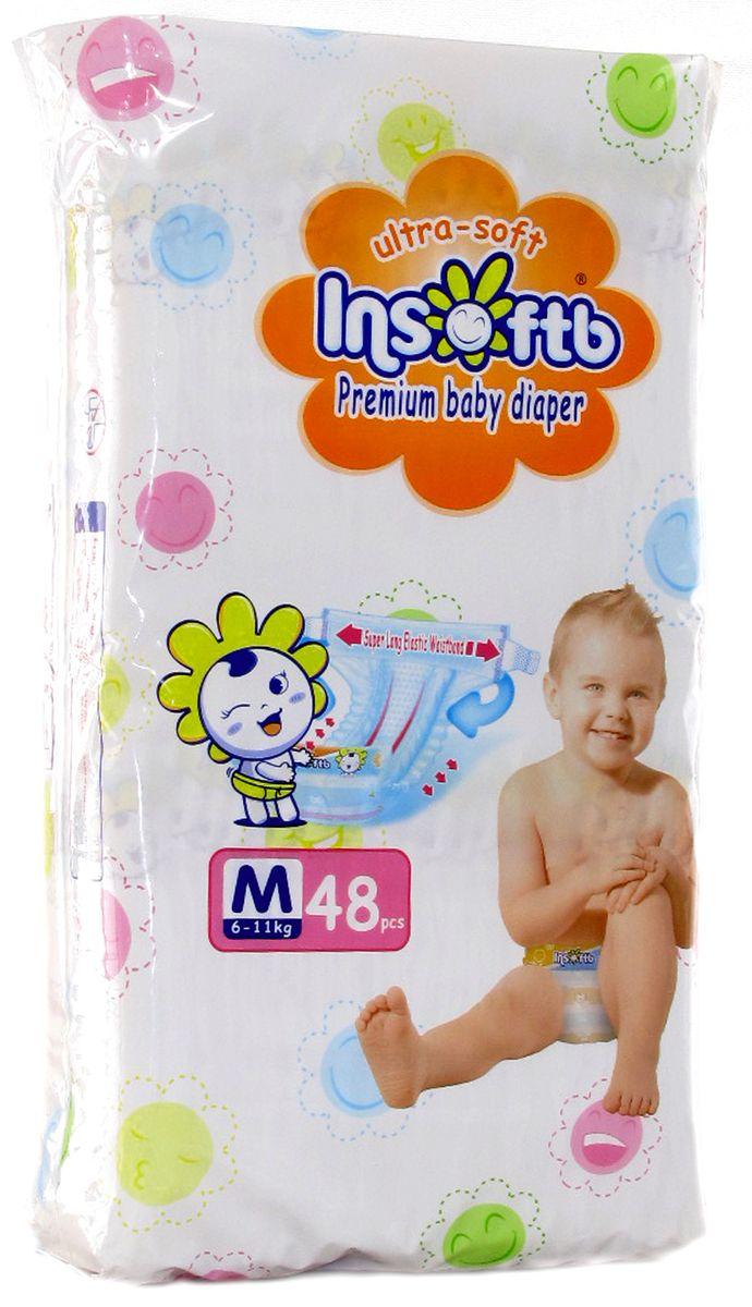 Insoftb Подгузники Premium Ultra-soft 6-11 кг размер M 48 шт6952753899483Подгузники Insoftb (ИнсфотБи) - это прочные и качественные подгузники, безопасные для кожи малыша, и в тоже время Insoftb обладаюo высокой прочностью, не протекают, и защищают кожу ребёнка от опрелостей. Внутренняя поверхность подгузников Insoftb (ИнсофтБи) сделана из натурального хлопка и бережно защищает чувствительную кожу малыша. Суперабсорбенты, используемые в подгузнике Insoftb (ИнсофтБи), великолепно впитывают влагу, которая, преобразуясь в гель, не попадает на кожу, тем самым помогая сохранить кожу малыша сухой днем и ночью. Мягкое ячеистое сиденье нежно прикасается к коже ребёнка, облегая её. Мягкие прилегающие складки Insoftb (ИнсофтБи) нежно соприкасаются с кожей малыша, препятствуя замачиванию внутренней стороны бёдер. Вентилируемое сиденье подгузника предохраняет от опрелости. Insoftb (ИнсофтБи) имеют складку с вентилируемыми отверстиями, чтобы быстро удалять пот со спины, подверженной потнице. Это повышает проницаемость для воздуха на 200% по сравнению с прежними...