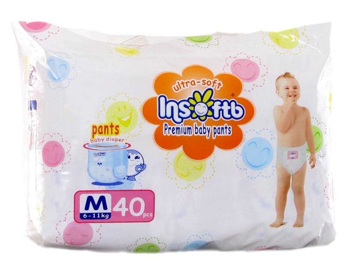 Insoftb Трусики-подгузники Premium Ultra-soft 6-11 кг размер M 40 шт6952753898400Трусики-подгузники Insoftb (ИнсфотБи) для мальчиков и девочек, изготовлены из натуральных природных материалов, основа которых - мягкая сеточка. Благодаря превосходной впитывающей способности, трусики-подгузники Insoftb (ИнсфотБи) сохраняют попку сухой. Трусики -подгузники Insoftb (ИнсфотБи) имеют закрепляющую ленту, которая закрывается бесшумно. Боковые сборки растягиваются в 2 раза, что позволяет надежно удерживать жидкость даже у самых подвижных малышей. Утолщенная часть подгузника со стороны спины сделана из мягкой сеточки с добавлением хлопка, что не допускает потливость спины ребенка, предотвращая появление потницы и сыпи. Фиксирующая лента свободно растягивается на 2,5-3 см, что добавляет комфорта во время игр, движения и кормления. Трусики-подгузники Insoftb (ИнсфотБи) легко снимаются и одеваются как настоящие трусики. Если во время сна ребенка необходимо сменить трусики-подгузики - можно просто разорвать их сбоку по шву. Специальная липучка - вы просто сворачиваете...