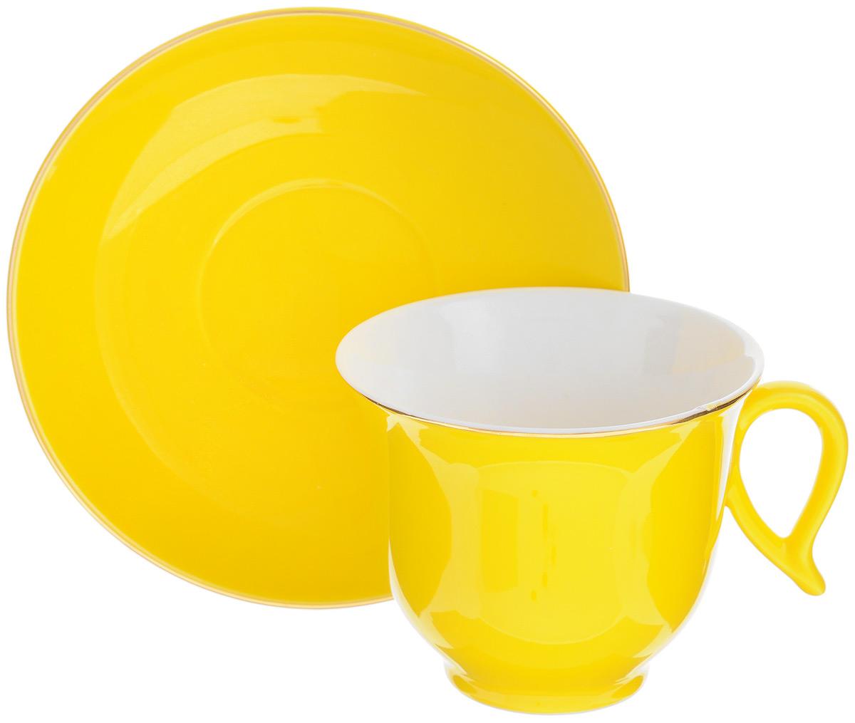 Чайная пара Loraine, цвет: желтый, золотистый, 2 предмета24741Чайная пара Loraine состоит из чашки и блюдца, изготовленных из костяного фарфора высшего качества, отличающегося необыкновенной прочностью и небольшим весом. Яркий дизайн изделий, несомненно, придется вам по вкусу. Чайная пара Loraine украсит ваш кухонный стол, а также станет замечательным подарком к любому празднику. Объем чашки: 220 мл. Диаметр чашки (по верхнему краю): 9,5 см. Высота чашки: 7,8 см. Диаметр блюдца: 14,5 см. Высота блюдца: 2,4 см.