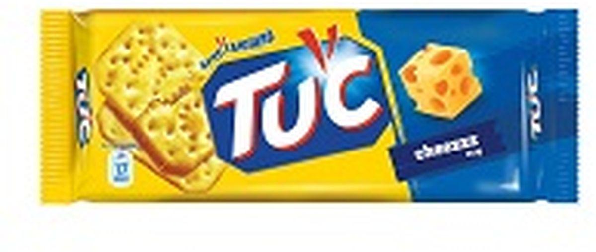 """TUC - это соленый крекер, созданный в Бельгии более 50 лет назад. Особенно популярен он в странах Европы, в частности во Франции, Испании, Нидерландах, Дании, Швейцарии и Италии. Выпечено, а не обжарено. Крекер TUC нежный, рассыпчатый, хрустящий и тает во рту. Состав: пшеничная мука, масла растительные, сироп глюкозный-фруктозный, солодовый экстракт, комплексная пищевая добавка """"Сыр"""" (сухая молочная сыворотка, вкусоароматические вещества, соль, усилители вкуса и аромата (Е621, Е627, Е631), сырный порошок, регуляторы кислотности(гидрокарбонат аммония, гидрокарбонат натрия), соль, консервант (пиросульфит натрия). Содержит пшеницу, глютен, яйца, сульфиты. Может содержать следы сои и кунжута. Пищевая ценность в 100г продукта: белки- 8,3г, углеводы- 61,1г, жиры- 23,6г. Энергетическая ценность: 489 ккал. Хранить в сухом прохладном месте."""