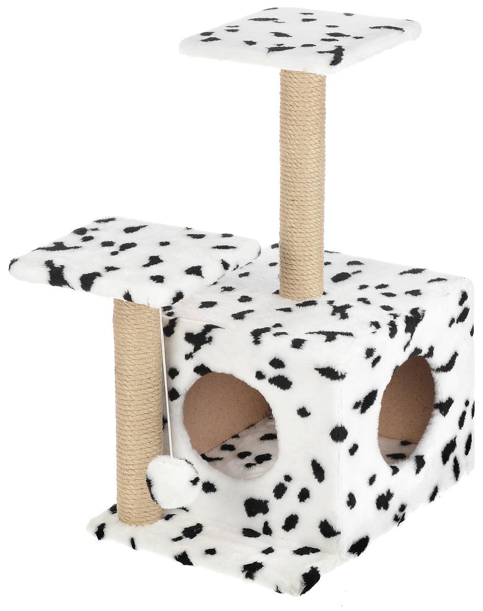 Игровой комплекс для кошек Меридиан, с домиком и когтеточкой, цвет: белый, черный, бежевый, 45 х 47 х 75 смД131 ДИгровой комплекс для кошек Меридиан выполнен из высококачественного ДВП и ДСП и обтянут искусственным мехом. Изделие предназначено для кошек. Ваш домашний питомец будет с удовольствием точить когти о специальный столбик, изготовленный из джута. А отдохнуть он сможет либо на полках разной высоты, либо в расположенном внизу домике. Также комплекс оснащен подвесной игрушкой, которая привлечет вашего питомца. Общий размер: 45 х 47 х 75 см. Размер домика: 45 х 36 х 32 см. Высота полок (от пола): 75 см, 45 см. Размер полок: 26 х 26 см.