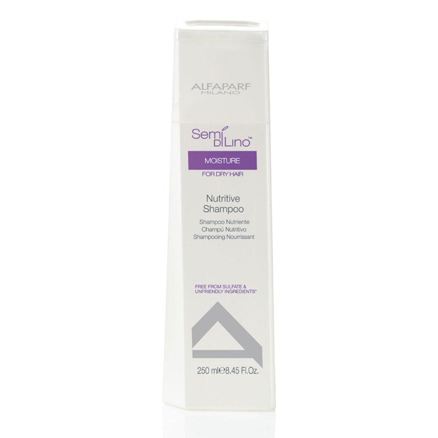 Alfaparf Шампунь для сухих волос Semi Di Lino Moisture Nutritive Shampoo 250 мл10005Alfaparf Semi DiLino Moisture Nutritive Shampoo Шампунь для сухих волос способствует увлажнению волос по всей длине, сохраняет интенсивность цвета волос, мягко очищает их. В состав шампуня Alfaparf входят такие компоненты, как экстракт овса, который стабилизирует липидные цепочки и надёжно защищает волосы от обезвоживания. Входящий в состав шампуня Альфапарф Semi Di Lino Moisture Nutritive экстракт мёда сохраняет влагу внутри волоса, а экстракт льна, обогащённый жирными кислотами Омега 3 и Омега 6 эффективно разглаживает волосы и придаёт им красивый блеск.С помощью производных кашемира стабилизируется протеиновый баланс волос, благодаря чему волосы становятся здоровыми и приобретают яркий и естественный цвет.