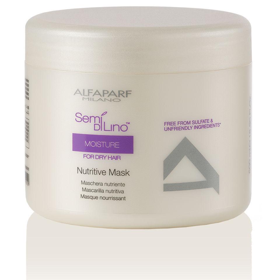 Alfaparf Маска для сухих волос Semi Di Lino Moisture Nutritive Mask 500 мл10008Alfaparf Semi DiLino Moisture Nutritive Mask Маска для сухих волос сделает волосы послушными и мягкими для расчёсывания, а также позволит прекрасно сохранить естественную интенсивность цвета волос. В состав средства Alfaparf SDL Moisture Nutritive Mask входит экстракт овса, эффективно препятствующий процессу обезвоживанию волос и особый витаминный комплекс, благодаря которому происходит восстановление липидных цепочек между кутикулой и корковым слоем волоса. Маска для сухих волос Alfaparf не утяжеляет волосы, делает их послушными и здоровыми. Маска Alfaparf Semi Di Lino Moisture Nutritive сохранит здоровье и красоту ваших волос.