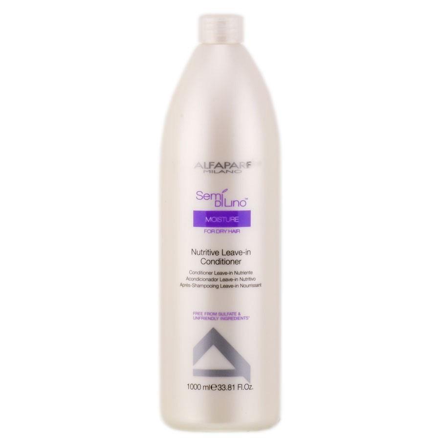Alfaparf Кондиционер несмываемый для сухих волос Semi Di Lino Moisture Nutritive Leave-In Conditioner 1000 мл10011Alfaparf Semi DiLino Moisture Nutritive Leave - InConditioner Кондиционер несмываемый для сухих волос содержит в составе экстракт мёда и питательные сахариды, способствующие удержанию влаги внутри волосяного стержня, тем самым обеспечивая волосу увлажнение и постоянное питание. В состав средства также входит экстракт семян льна, содержащий жирные кислоты Омега 3 и Омега 6, которые придают волосам красивый и здоровый блеск. Кондиционер Альфапарф SDL Moisture Nutritive Leave-In усиливает насыщенность цвета волос, обладает устойчивым эффектом и не содержит парафинов, парабенов, минеральных масел и красителей. Несмываемый кондиционер Alfaparf Nutritive делает волосы послушными и способствует гораздо более комфортной укладке волос.