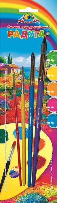 Апплика Набор кистей Радуга из волоса пони 4 шт С1104-01С1104-01Кисти из набора Апплика идеально подойдут для детского творчества, художественных и декоративно-оформительских работ. Кисти из натурального ворса пони разных размеров предназначены для работы с акварелью, гуашью, тушью. Конусообразная форма пучка позволяет прорисовывать мелкие детали и выполнять заливку фона. В набор входят кисти №1, 3, 5 и 7