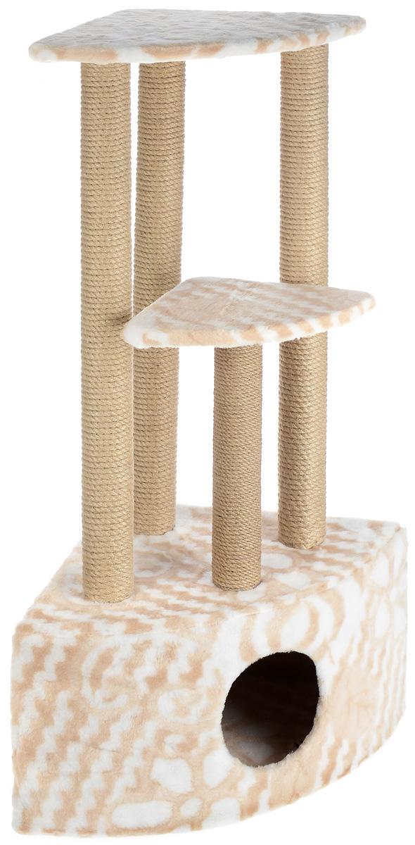 Игровой комплекс для кошек Меридиан, 3-ярусный, угловой, с домиком и когтеточкой, цвет: белый, бежевый, 42 х 42 х 1150 смД436 ЦвИгровой комплекс для кошек Меридиан выполнен из высококачественного ДВП и ДСП и обтянут искусственным мехом. Изделие предназначено для кошек. Комплекс имеет 3 яруса. Ваш домашний питомец будет с удовольствием точить когти о специальные столбики, изготовленные из джута. А отдохнуть он сможет либо на полках, либо в расположенном внизу домике. Общий размер: 42 х 42 х 110 см. Размер домика: 42 х 42 х 28 см. Размер большой полки: 35 х 35 см. Размер малой полки: 26 х 26 см.