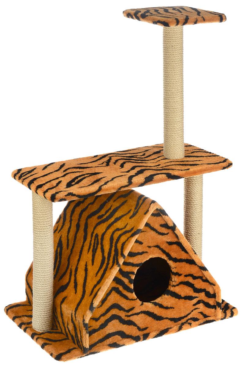 Игровой комплекс для кошек Меридиан, с двумя полками, цвет: оранжевый, черный, бежевый, 68 х 39 х 104 смД311 ТИгровой комплекс для кошек Меридиан выполнен из высококачественного ДВП и ДСП и обтянут искусственным мехом. Изделие предназначено для кошек. Ваш домашний питомец будет с удовольствием точить когти о специальные столбики, изготовленные из джута. А отдохнуть он сможет либо на полках, либо в расположенном внизу домике. Общий размер: 68 х 39 х 104 см. Размер домика: 51 х 39 х 45 см. Размер большой полки: 68 х 30 см. Размер малой полки: 25 х 25 см.