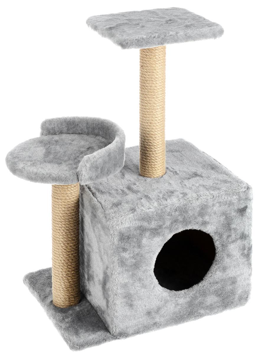 Игровой комплекс для кошек Меридиан, с домиком и когтеточкой, цвет: светло-серый, бежевый, 35 х 45 х 75 смД130 ССИгровой комплекс для кошек Меридиан выполнен из высококачественного ДВП и ДСП и обтянут искусственным мехом. Изделие предназначено для кошек. Ваш домашний питомец будет с удовольствием точить когти о специальные столбики, изготовленные из джута. А отдохнуть он сможет либо на полках разной высоты, либо в расположенном внизу домике. Общий размер: 35 х 45 х 75 см. Размер домика: 46 х 37 х 33 см. Высота полок (от пола): 74 см, 45 см. Размер полок: 27 х 27 см, 26 х 26 см.