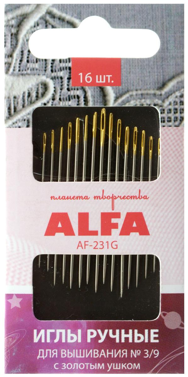 Иглы ручные Alfa, для вышивания, с золотым ушком, № 3/9, 16 штAF-231GИглы ручные Alfa изготовлены из металла и предназначены для вышивания. Они имеют ушко золотого цвета. Разные размеры игл удовлетворят потребности в различных видах швов.