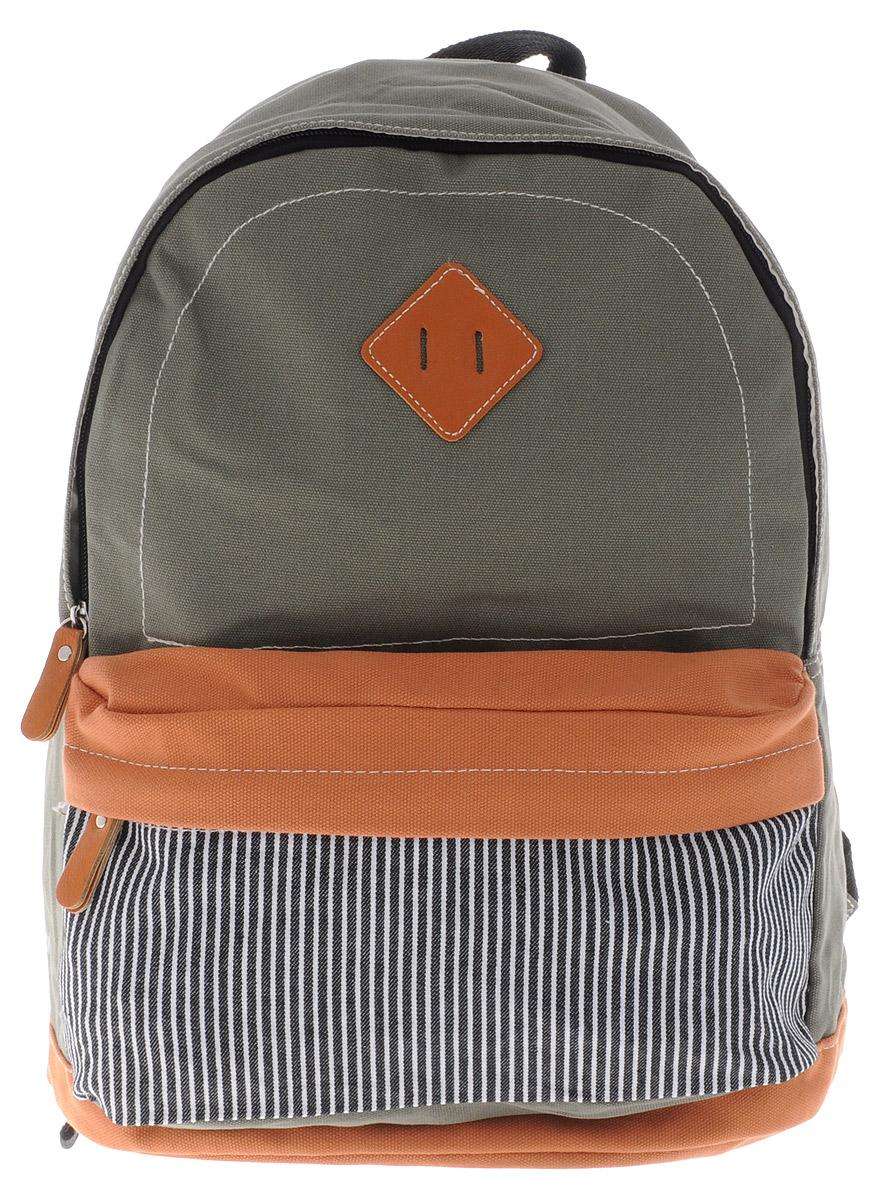 Centrum Рюкзак детский цвет серо-зеленый светло-коричневый86912Стильный рюкзак Centrum предназначен специально для подростков. Рюкзак содержит одно вместительное отделение, закрывающееся на застежку-молнию. Внутри отделения имеется дополнительный прорезной карман на застежке-молнии. На лицевой стороне расположен накладной карман на застежке-молнии. Рюкзак оснащен широкими мягкими лямками, регулирующимися по длине, и петлей для подвешивания на вешалке. Рюкзак будет отличным помощником для вашего ребенка в его походах за знаниями.