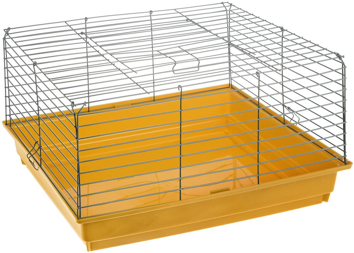 Клетка для кролика ЗооМарк, цвет: желтый поддон, зеленая решетка, 60 х 40 х 35 см620Классическая клетка ЗооМарк со сплошным дном станет уединенным личным пространством и уютным домиком для кролика. Изделие выполнено из металла и пластика. Клетка надежно закрывается на защелки. Легко чистится. Для более удобной транспортировки клетку можно сложить.