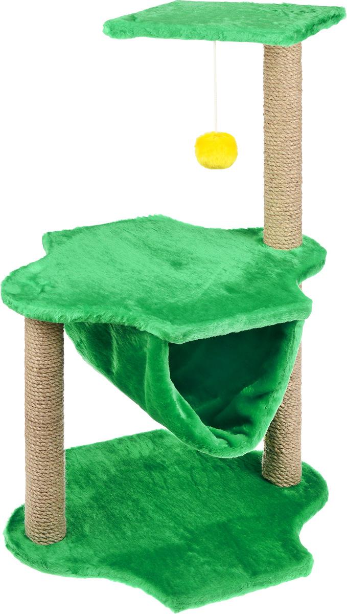 Игровой комплекс для кошек ЗооМарк, 3-ярусный, цвет: зеленый, бежевый, 60 х 50 х 100 см129Игровой комплекс для кошек ЗооМарк выполнен из высококачественного дерева и обтянут искусственным мехом. Изделие предназначено для кошек. Комплекс имеет 3 яруса. Ваш домашний питомец будет с удовольствием точить когти о специальные столбики, изготовленные из джута. А отдохнуть он сможет либо на полках, либо в гамаке, расположенном на нижнем ярусе. На одной из полок расположена игрушка, которая еще сильнее привлечет внимание питомца. Общий размер: 60 х 50 х 100 см. Размер основания и средней полки: 60 х 45 см. Размер верхней полки: 50 х 34 см.