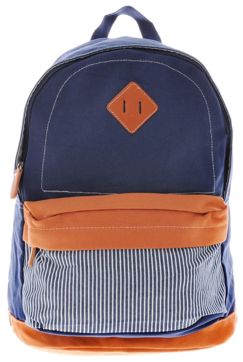 Centrum Рюкзак детский цвет темно-синий светло-коричневый86911Стильный рюкзак Centrum предназначен специально для подростков. Рюкзак содержит одно вместительное отделение, закрывающееся на застежку-молнию. Внутри отделения имеется дополнительный прорезной карман на застежке-молнии. На лицевой стороне расположен накладной карман на застежке-молнии. Рюкзак оснащен широкими мягкими лямками, регулирующимися по длине, и петлей для подвешивания на вешалке. Рюкзак будет отличным помощником для вашего ребенка в его походах за знаниями.