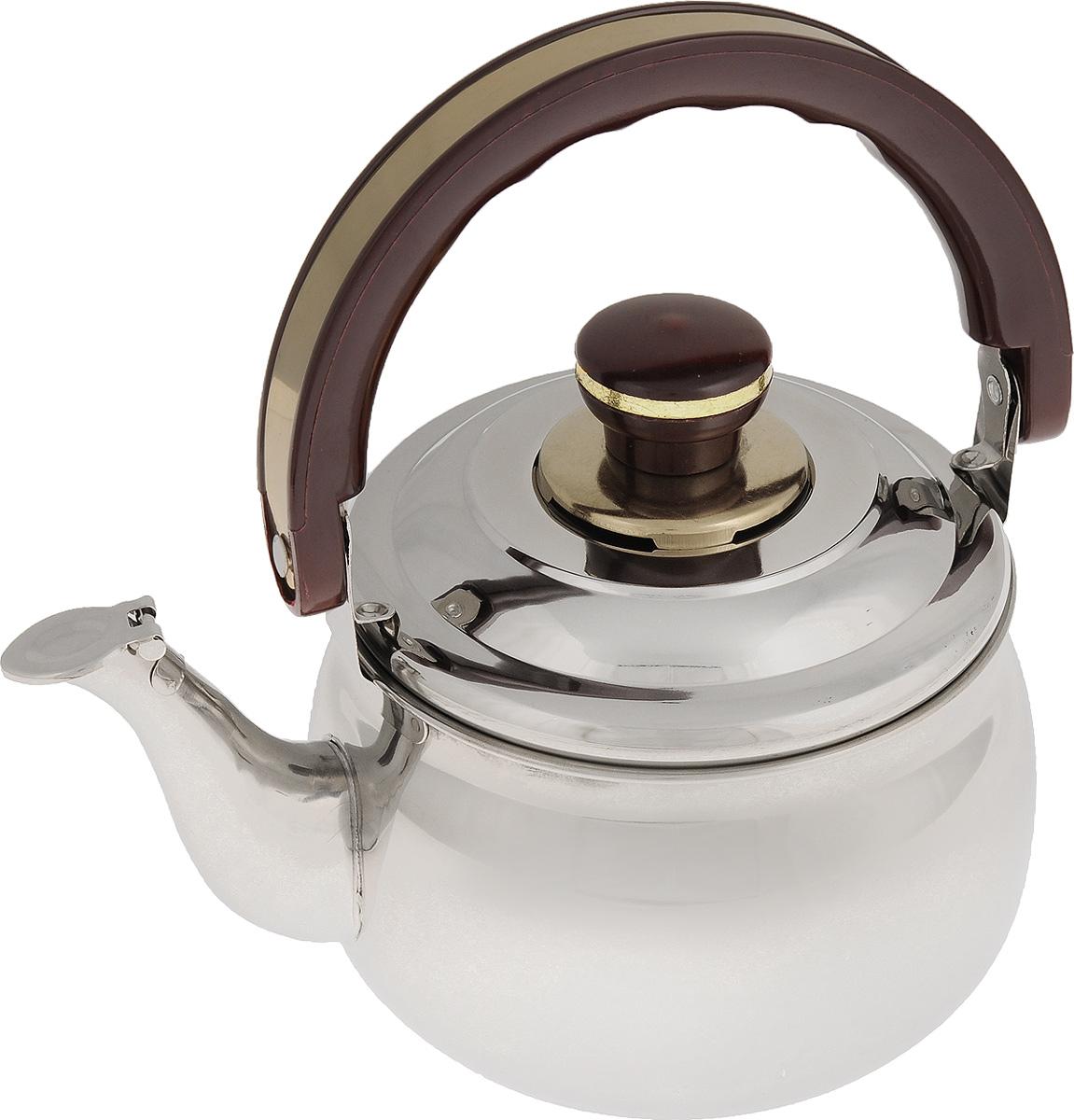 Чайник Mayer & Boch, со свистком, 1,5 л. 77817781Чайник Mayer & Boch изготовлен из высококачественной нержавеющей стали с зеркальной полировкой. Нержавеющая сталь не окисляется и не впитывает запахи, поэтому напитки всегда будут ароматными и иметь натуральный вкус. Капсулированное дно с прослойкой из алюминия обеспечивает наилучшее распределение тепла. Крышка чайника оснащена свистком, что позволит контролировать процесс подогрева или кипячения воды. Подвижная бакелитовая ручка имеет эргономичную форму, обеспечивая дополнительное удобство при разлитии напитка. Широкое верхнее отверстие поможет удобно налить воду. Чайник подходит для использования на электрических, газовых, стеклокерамических плитах. Можно мыть в посудомоечной машине. Диаметр чайника (по верхнему краю): 13,5 см. Высота чайника (без учета ручки и крышки): 9,5 см.