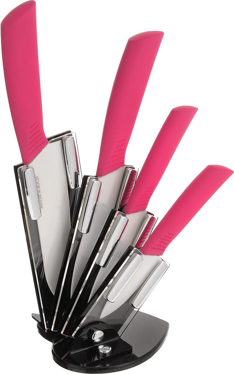 Набор керамических ножей Mayer & Boch, цвет: белый, малиновый, 5 предметов. 2230222302Набор ножей Mayer & Boch состоит из 4 ножей и подставки. Лезвия ножей выполнены из высококачественной циркониевой керамики. Керамические ножи не подвергаются коррозии, вследствие воздействия влаги, различных кислот или органических щелочей. Керамические ножи не придают металлического привкуса или запаха, а также сохраняют свежесть продуктов. Режущая кромка лезвий устойчива к притуплению. Керамические ножи высоко гигиеничны и легки в очистке. Рукоятки эргономичной формы выполнены из ABS-пластика с прорезиненным покрытием и термопластика. Специальный дизайн рукоятки обеспечивает комфортный и легко контролируемый захват. В комплект входит акриловая подставка. Основание подставки имеет форму сердечка. В наборе есть все необходимое для ежедневной нарезки фруктов, овощей и мяса. Ножи не рекомендуется мыть в посудомоечной машине. Длина лезвий ножей: 8 см; 10,5 см; 13 см; 15,5 см. Общая длина ножей: 18 см; 20,5 см; 25 см; 27 см. Размер подставки...