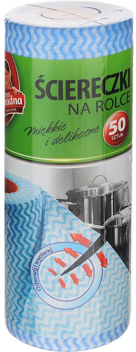 Салфетки в рулоне Anna Zaradna, 50 шт2961Салфетки в рулоне Anna Zaradna, выполненные из нетканого полотна (70% вискоза, 30% полиэстер), предназначены для очистки любых поверхностей на кухне, в ванной и в доме. Салфетки мягкие и деликатные, могут использоваться как для сухой, так и для влажной уборки. Отлично впитывают влагу и не оставляют ворсинок. Размер рулона: 9 х 9 х 25 см. Количество салфеток: 50 шт.