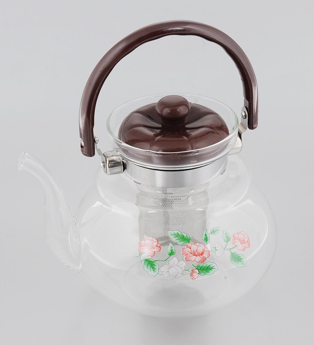 Чайник заварочный Mayer & Boch, с фильтром, 1,5 л20781Заварочный чайник Mayer & Boch полностью изготовлен из жаропрочного боросиликатного стекла и оформлен красивым цветочным принтом. Чайник оснащен сетчатым фильтром из нержавеющей стали, который задерживает чаинки и предотвращает их попадание в чашку. Прозрачные стенки дают возможность наблюдать за насыщением напитка. Подвижная ручка и крышка выполнены из бакелита. Заварочный чайник Mayer & Boch займет достойное место на вашей кухне, а также послужит хорошим подарком для друзей и близких. Диаметр (по верхнему краю): 10 см. Диаметр основания: 9 см. Высота фильтра: 9,5 см. Высота чайника (без учета ручки и крышки): 15 см.
