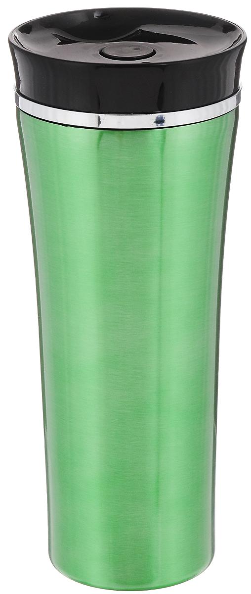Кружка-термос Mayer & Boch, цвет: зеленый, черный, 450 мл. 2540725407Кружка-термос Mayer & Boch выполнена из высококачественной нержавеющей стали с двойными стенками, которые защищают руки от высоких температур и позволяют дольше сохранять тепло напитка. Изделие снабжено герметичной крышкой из термостойкого пластика, которая имеет защиту от проливаний. Такая термокружка порадует каждого, кто ее увидит, и великолепно украсит кухонный интерьер. Диаметр кружки-термоса (по верхнему краю): 8,2 см. Высота кружки-термоса (с учетом крышки): 20,5 см.