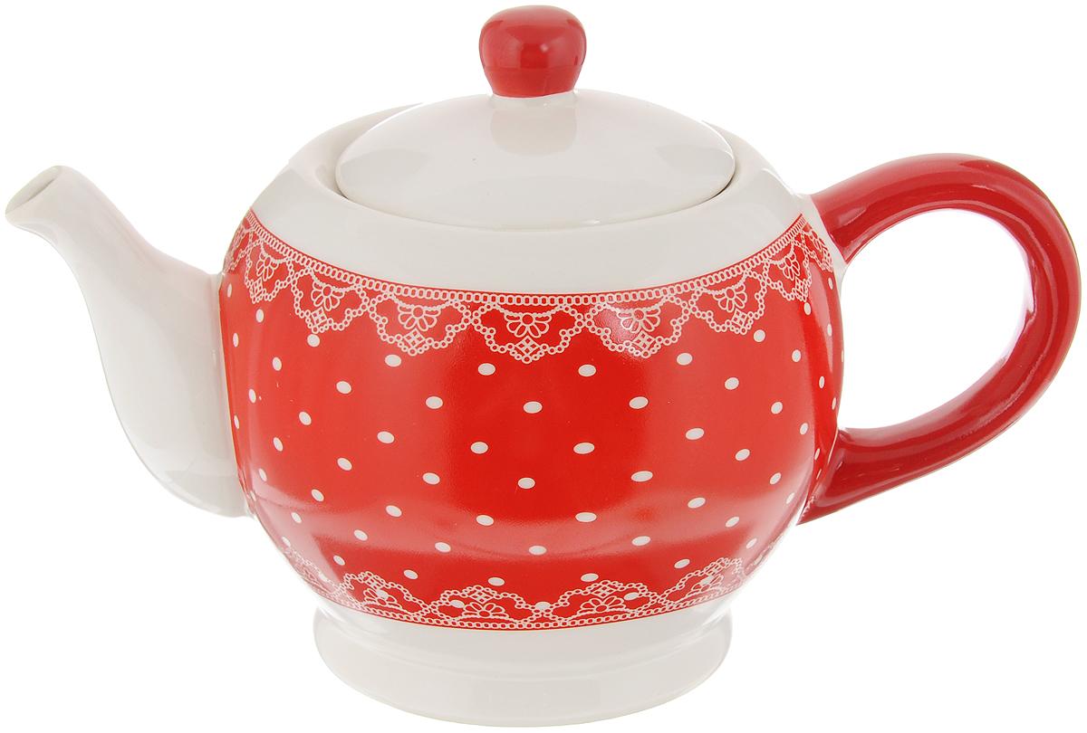 Чайник заварочный Loraine Красный узор, 950 мл25819Заварочный чайник Loraine Красный узор изготовлен из высококачественного доломита без примеси ПФОК. Глазурованное гладкое покрытие обеспечивает легкую очистку. Изделие прекрасно подходит для заваривания вкусного и ароматного чая, а также травяных настоев. Оригинальный дизайн сделает чайник настоящим украшением стола. Он удобен в использовании и понравится каждому. Можно мыть в посудомоечной машине и использовать в микроволновой печи. Диаметр чайника (по верхнему краю): 9 см. Высота чайника (без учета крышки): 11,3 см.