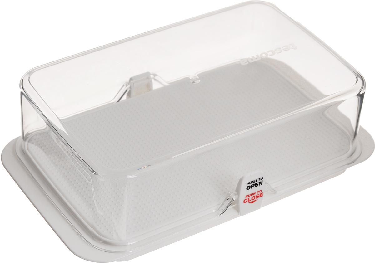 Масленка Tescoma Purity891832Масленка Tescoma Purity изготовлена из высококачественного пластика, который используют в фармацевтике и здравоохранении. Используемый материал очень высокого качества и никак не влияет на качество пищи, даже при длительном хранении. Масленка идеальна для хранения масла в холодильнике. Шероховатое дно обеспечивает удобную нарезку - масло не скользит. Дно изделия снабжено противоскользящими вставками. Прозрачная крышка позволяет видеть содержимое. Масленка плотно закрывается на две защелки. Две запасные защелки поставляются в комплекте. Можно мыть в посудомоечной машине.
