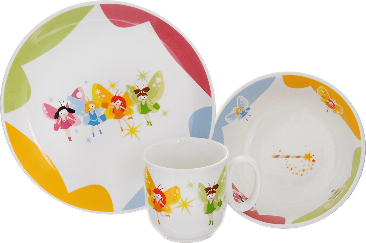 Набор детской посуды Tescoma Bambini. Феи, 3 предмета667950Набор детской посуды Tescoma Bambini. Феи включает суповую тарелку, обеденную тарелку и кружку. Изделия выполнены из высококачественного глазурованного фарфора и декорированы изображением фей. Такой набор обязательно понравится вашему ребенку, потому что теперь у него будет своя собственная посуда с ярким и оригинальным детским рисунком. Набор подходит для микроволновой печи, пригоден для мытья в посудомоечной машине. Объем кружки: 300 мл. Диаметр кружки (по верхнему краю): 8 см. Высота кружки: 8 см. Диаметр суповой тарелки: 15 см. Высота стенки суповой тарелки: 5,5 см. Диаметр обеденной тарелки: 21 см.
