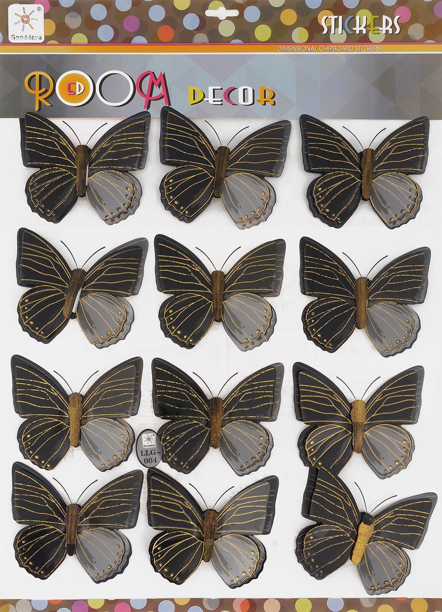 Наклейка интерьерная 5D Gooddays Полет бабочек, цвет: черный, серый, 12 шт1194957_LLG-004_черный, серыйИнтерьерные 5D наклейки Gooddays Полет бабочек - прекрасный выбор для тех, кто хочет оригинально оформить интерьер помещения. Объемные наклейки выполнены из пластика в виде бабочек. Благодаря специальной поролоновой вставке с клейким слоем, изделия крепятся к любой сухой ровной поверхности. Вы можете разместить бабочки в любом порядке, например, по спирали, в форме сердца, креста, круга. Наклейки подчеркнут ваш стиль и сделают интерьер запоминающимся и нескучным. Размер наклейки: 12 х 10,5 х 1,5 см. Комплектация: 12 шт.