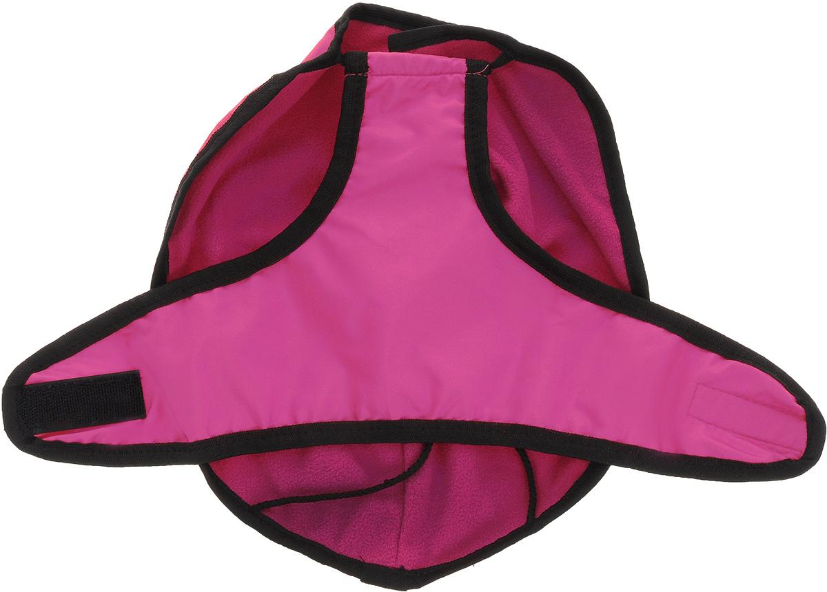 Попона для собак ЗооМарк, цвет: розовый, черный кант. Размер 1П-1_в ассортиментеПопона для собак Зоомарк изготовлена из текстиля с водоотталкивающим наружным слоем. Изделие легко одевается и фиксируется с помощью лямок и липучек. Эластичная резинка по краю попоны не сковывает движения и обеспечивает комфортную посадку. В такой попоне ваша собака будет выглядеть нарядно и стильно. Длина по спинке: 32 см.