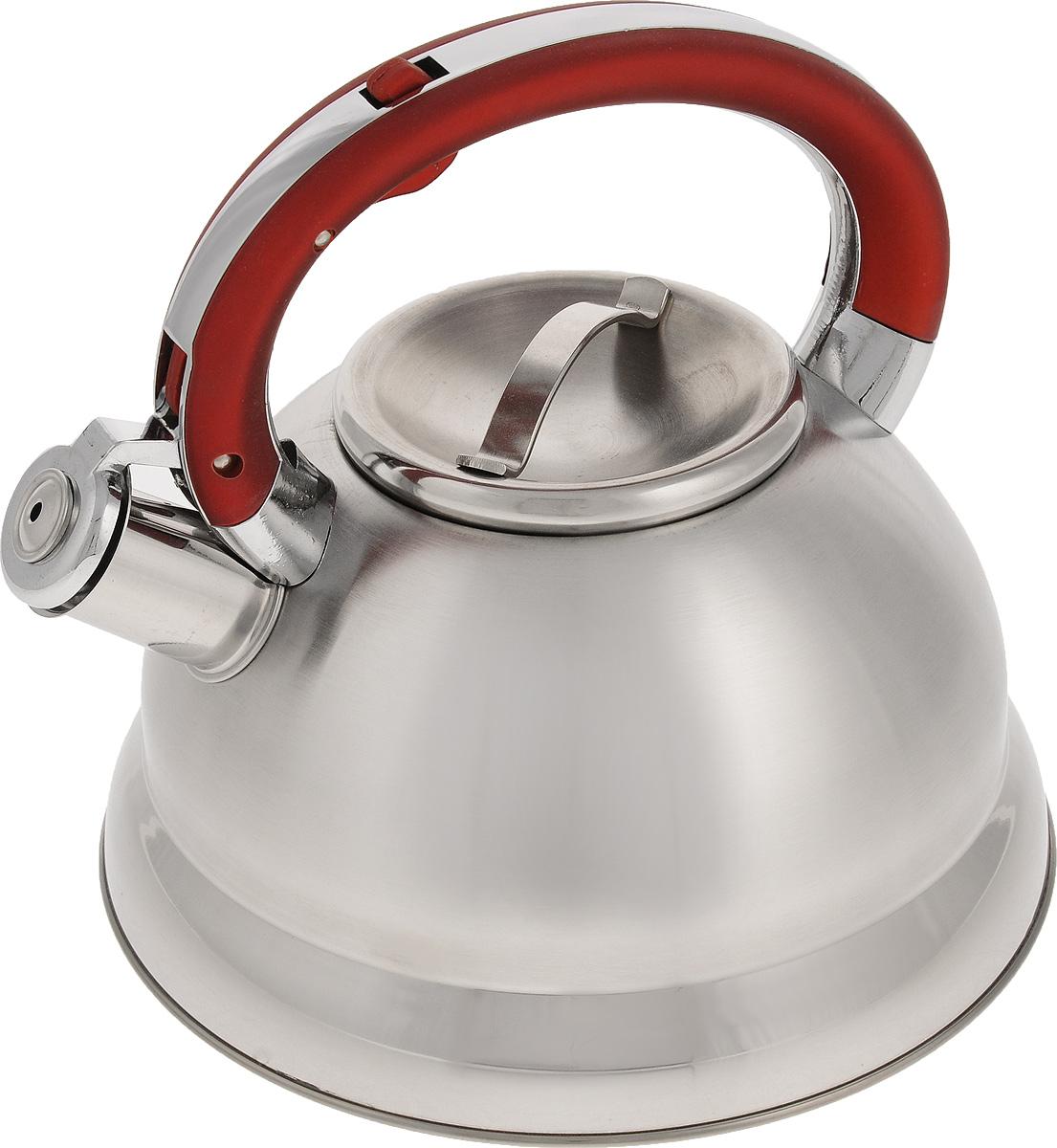 Чайник Mayer & Boch, со свистком, 2,6 л. 2275122751Чайник Mayer & Boch выполнен из высококачественной нержавеющей стали, что делает его весьма гигиеничным и устойчивым к износу при длительном использовании. Чайник оснащен неподвижной ручкой, изготовленной из цинкового сплава с нейлоном, и откидным свистком, который громким сигналом подскажет, когда вода закипела. Подходит для всех типов плит, кроме индукционных. Можно мыть в посудомоечной машине. Диаметр (по верхнему краю): 10 см. Диаметр основания: 22 см. Высота чайника (с учетом ручки и крышки): 21 см.
