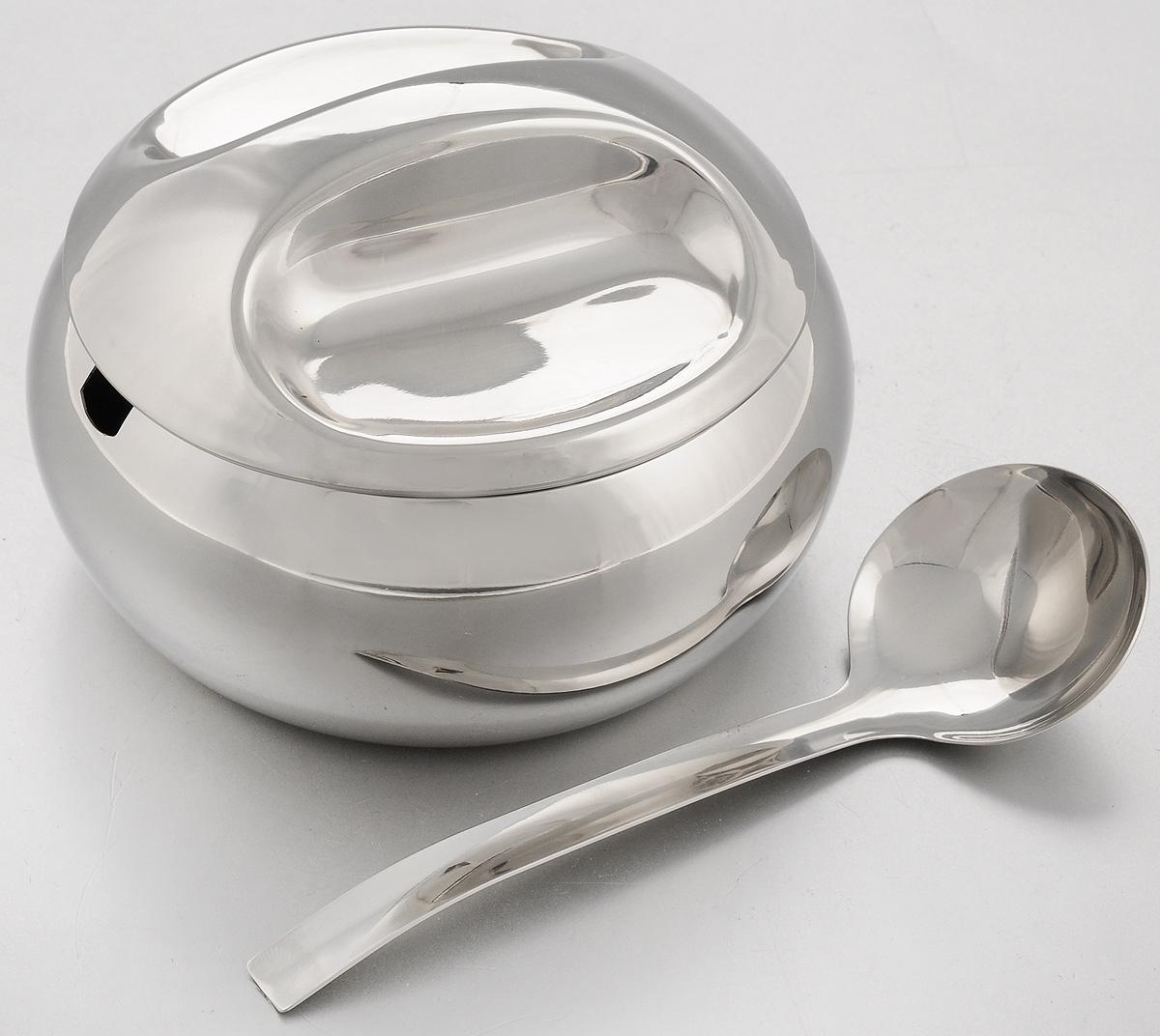 Сахарница Mayer & Boch, с ложкой, 420 мл. 28222822Сахарница Mayer & Boch с крышкой и ложкой, изготовленная из высококачественной нержавеющей стали, сохранит ваш сахар свежим на длительное время. Она прекрасно подойдет к современной кухне. Можно мыть в посудомоечной машине. Диаметр сахарницы (по верхнему краю): 10,3 см. Диаметр основания: 8,5 см. Высота сахарницы (без учета крышки): 5,5 см. Высота сахарницы (с учетом крышки): 8,5 см. Длина ложки: 14 см.