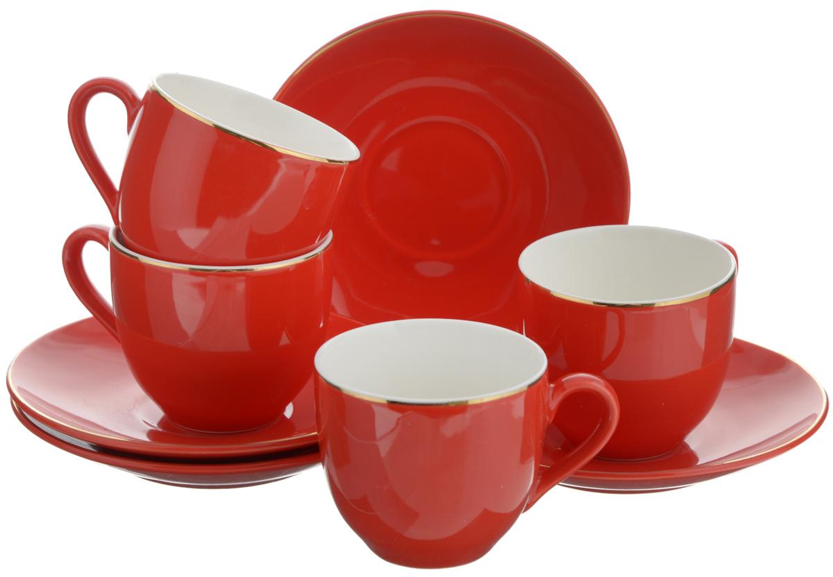 Набор кофейный Loraine, цвет: красный, 8 предметов. 2475024750Кофейный набор Loraine состоит из 4 чашек и 4 блюдец. Изделия выполнены из высококачественного фарфора, имеют яркий дизайн и классическую круглую форму. Такой набор прекрасно подойдет как для повседневного использования, так и для праздников. Набор Loraine - это не только яркий и полезный подарок для родных и близких, но и великолепное дизайнерское решение для вашей кухни или столовой. Диаметр чашки (по верхнему краю): 6 см. Высота чашки: 5,5 см. Диаметр блюдца (по верхнему краю): 11 см. Высота блюдца: 1,7 см. Объем чашки: 80 мл.