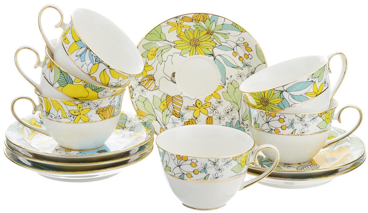 Набор чайный Patricia Настроение, 12 предметовIM52-0603Чайный набор Patricia Настроение состоит из 6 чашек и 6 блюдец. Изделия выполнены из высококачественного фарфора и оформлены ярким рисунком. Такой набор изящно дополнит сервировку стола к чаепитию. Не рекомендуется мыть в посудомоечной машине и использовать в микроволновой печи. Объем чашки: 220 мл. Диаметр чашки по верхнему краю: 9 см. Высота чашки: 6 см. Диаметр блюдца: 15 см. Высота блюдца: 2,2 см.