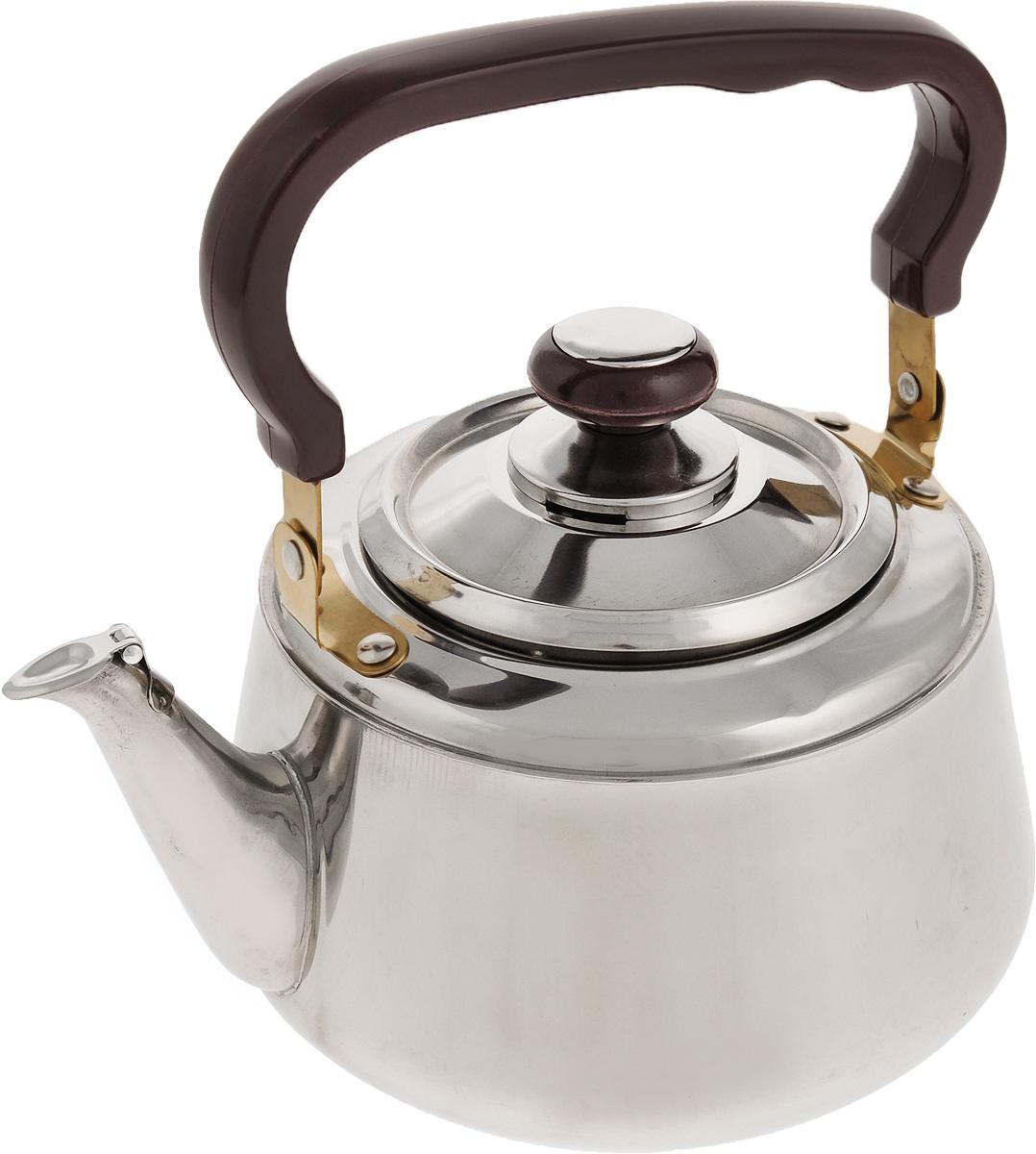 Чайник Mayer & Boch, со свистком, 2 л. 10391039Чайник Mayer & Boch изготовлен из высококачественной нержавеющей стали. Он оснащен удобной ручкой из бакелита, что делает использование чайника очень удобным и безопасным. Крышка снабжена свистком, позволяя контролировать процесс подогрева или кипячения воды. Эстетичный и функциональный чайник будет оригинально смотреться в любом интерьере. Подходит для стеклокерамических, газовых, электрических плит. Можно мыть в посудомоечной машине. Высота чайника (без учета ручки и крышки): 11,5 см. Высота чайника (с учетом ручки и крышки): 22,5 см. Диаметр чайника (по верхнему краю): 10 см.