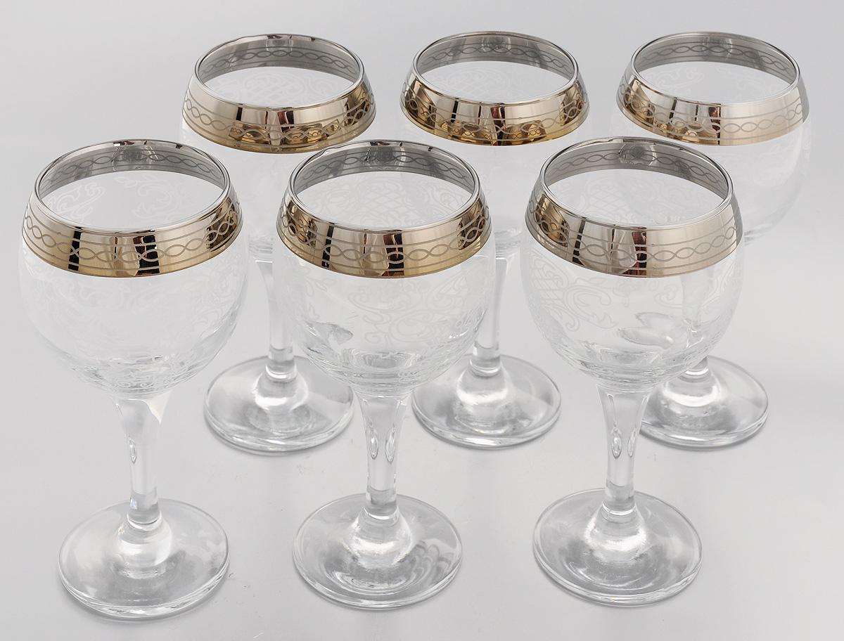 Набор бокалов для вина Мусатов Люция, 260 мл, 6 шт411/03Набор Мусатов Люция состоит из 6 бокалов для вина, выполненных из прочного натрий-кальций-силикатного стекла. Изделия декорированы белым орнаментом и золотистым напылением по краю. Такой набор отлично подойдет для подачи вина. Он изысканно украсит стол и станет чудесным подарком к любому случаю. Разрешается мыть в посудомоечной машине. Диаметр (по верхнему краю): 6,5 см. Диаметр основания: 6,5 см. Высота бокала: 16 см.