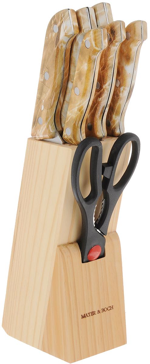 Набор ножей Mayer & Boch, на подставке, 9 предметов. 485485Набор ножей Mayer & Boch состоит из поварского ножа, ножа хлебного, ножа для выемки костей, универсального ножа, ножа для очистки, ножа для разделки мяса, ножниц, точилки и подставки. Ножи выполнены из высококачественной нержавеющей стали. Специальный дизайн ручек, изготовленных из полипропилена, обеспечивает безопасную работу. Подставка для ножей из дерева (сосна) сэкономит место на рабочем столе. В набор также входит точилка, благодаря которой ваши ножи всегда будут заточены, а резка будет доставлять только удовольствие. Такой набор станет для вас отличным помощником при нарезке овощей, фруктов и мяса. Рекомендуется мыть вручную. Длина лезвия поварского ножа: 15,2 см. Общая длина поварского ножа: 29 см. Длина лезвия хлебного ножа: 17,8 см. Общая длина хлебного ножа: 29 см. Длина лезвия ножа для разделки мяса: 17,8 см. Общая длина ножа для разделки мяса: 29 см. Длина лезвия ножа для выемки костей: 13,3 см. Общая...