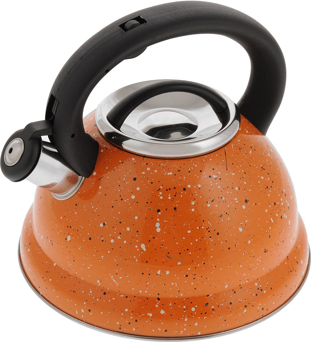 Чайник Mayer & Boch, со свистком, 2,8 л. 2497024970Чайник Mayer & Boch выполнен из высококачественной нержавеющей стали. Фиксированная ручка, изготовленная из пластика и нержавеющей стали, снабжена клавишей для открывания носика, что делает использование чайника очень удобным и безопасным. Носик снабжен свистком, что позволит вам контролировать процесс подогрева или кипячения воды. Эстетичный и функциональный чайник будет оригинально смотреться в любом интерьере. Подходит для всех видов плит, включая индукционные. Можно мыть в посудомоечной машине. Диаметр чайника (по верхнему краю): 10 см. Диаметр основания: 22 см. Высота чайника (с учетом ручки): 20,5 см.