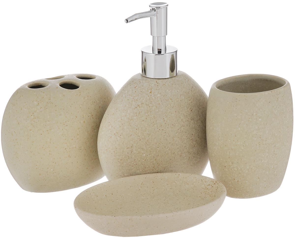 Набор для ванной комнаты Aqua Line Дюна, 4 предмета1305216Набор для ванной комнаты Aqua Line Дюна включает стакан, подставку для зубных щеток, мыльницу и диспенсер для жидкого мыла с пластиковым дозатором. Набор выполнен из фарфора высокого качества. Все элементы выдержаны в одном стиле, что позволяет создать в ванной комнате стильный и оригинальный функционально- декоративный ансамбль. Такой набор аксессуаров придаст интерьеру вашей ванной комнаты элегантность и современность. Размер мыльницы: 13,5 х 9 х 2,5 см. Размер стакана: 7,5 х 5,5 х 10 см. Размер подставки для зубных щеток: 11 х 5,5 х 10 см. Высота диспенсера: 17 см.