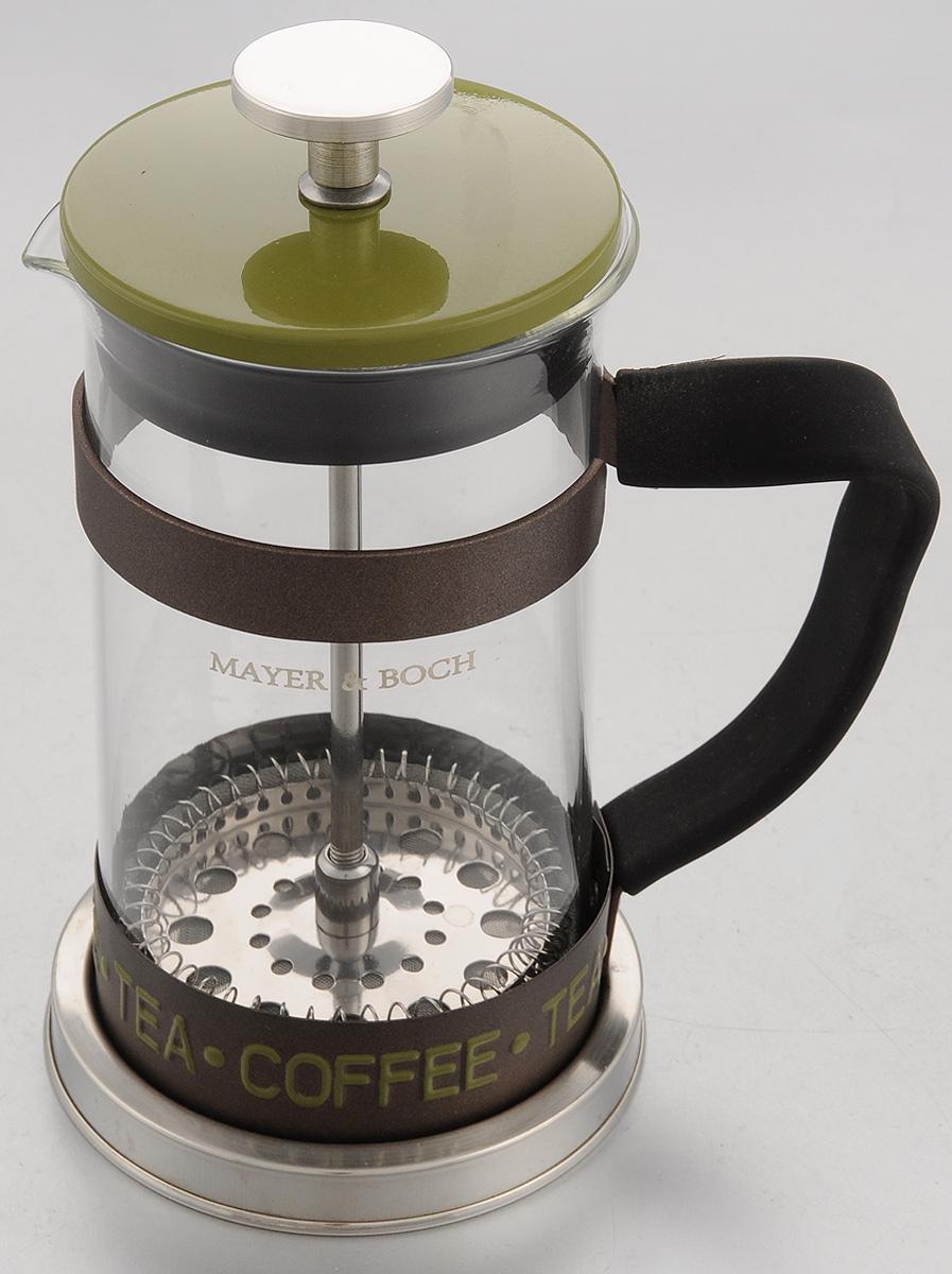 Френч-пресс Mayer & Boch, цвет: прозрачный, зеленый, 350 мл. 2491224912Френч-пресс Mayer & Boch изготовлен из высококачественной нержавеющей стали и жаропрочного стекла. Фильтр-поршень оснащен ситечком для обеспечения равномерной циркуляции воды. Засыпая чайную заварку или кофе под фильтр, заливая горячей водой, вы получаете ароматный напиток с оптимальной крепостью и насыщенностью. Остановить процесс заваривания легко, для этого нужно просто опустить поршень вниз, оставляя напиток, готовый к употреблению. Изделие оснащено эргономичной прорезиненной ручкой, она обеспечит безопасный и удобный хват. Такой френч-пресс позволит быстро и просто приготовить свежий и ароматный кофе или чай. Можно мыть в посудомоечной машине. Не использовать в микроволновой печи. Диаметр колбы (по верхнему краю): 7,5 см. Высота френч-пресса (без учета крышки): 14,5 см. Высота френч-пресса (с учетом крышки): 17,5 см.
