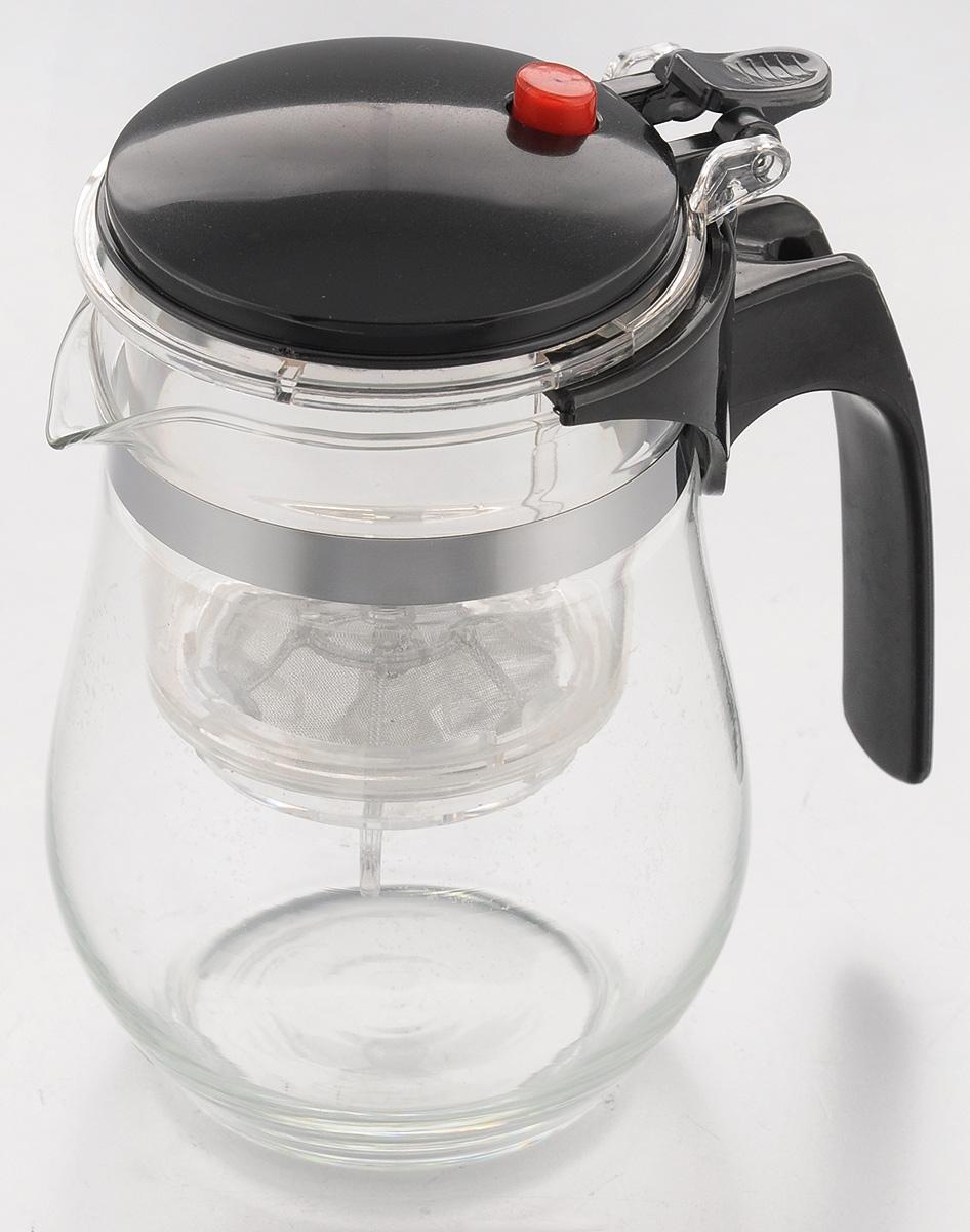 Чайник заварочный Mayer & Boch, с фильтром и клапаном, 500 мл4025Чайник заварочный Mayer & Boch изготовлен из высококачественного термостойкого стекла и пластика. Заварочный чайник удобен в использовании, любой человек, даже не имеющий большого опыта в заваривании чая, сможет заварить в нем чай до правильной консистенции без риска перезаварить чай. При нажатии на кнопку заваренный настой из фильтра переливается в нижнюю часть чайника, процесс заварки останавливается, а чаинки остаются в фильтре. Диаметр чайника (по верхнему краю): 7 см. Высота чайника (с учетом крышки): 14,5 см.
