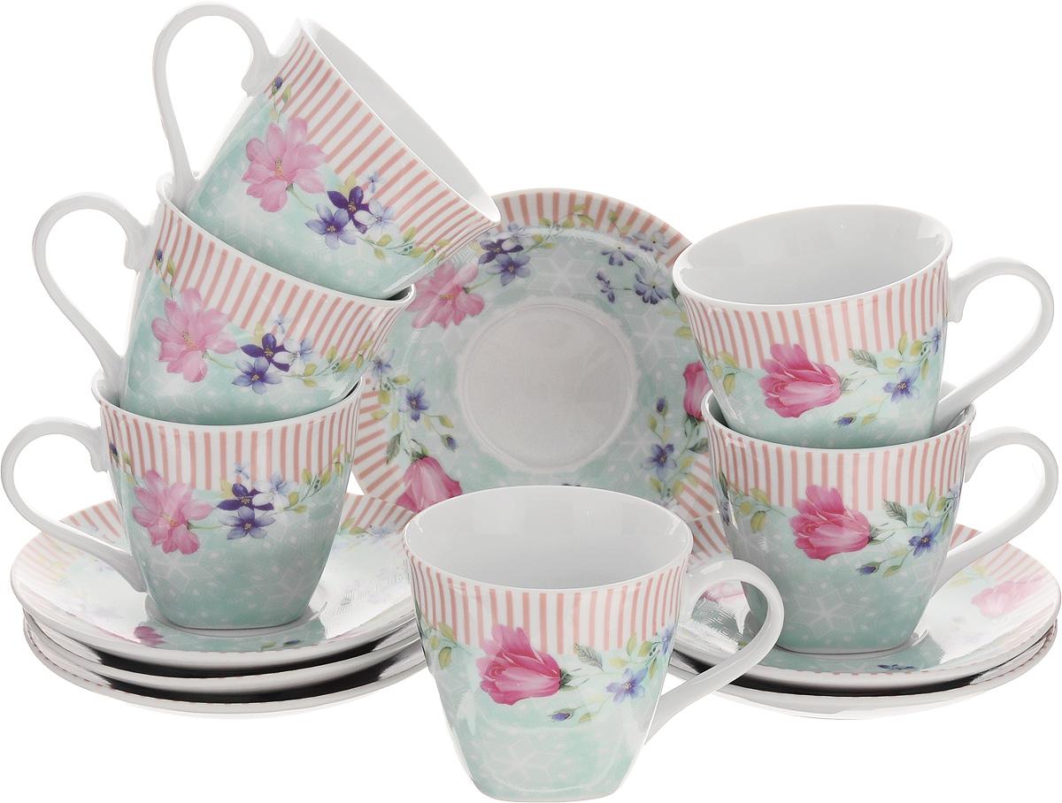 Набор чайный Loraine, 12 предметов. 2579725797Чайный набор Loraine выполнен из высококачественного фарфора белого цвета и украшен нежным цветочным рисунком. В набор входит 6 чашек и 6 блюдец. Изящный дизайн и красочность оформления придутся по вкусу и ценителям классики, и тем, кто предпочитает утонченность и изысканность. Чайный набор - идеальный и необходимый подарок для вашего дома и для ваших друзей в праздники, юбилеи и торжества. Он также станет отличным корпоративным подарком и украшением любой кухни. Набор упакован в подарочную коробку, задрапированную белой атласной тканью. Такой чайный набор станет прекрасным украшением стола, а процесс чаепития превратится в одно удовольствие. Объем чашки: 220 мл. Диаметр чашки (по верхнему краю): 8,5 см. Высота чашки: 7,5 см. Диаметр блюдца: 13,5 см.