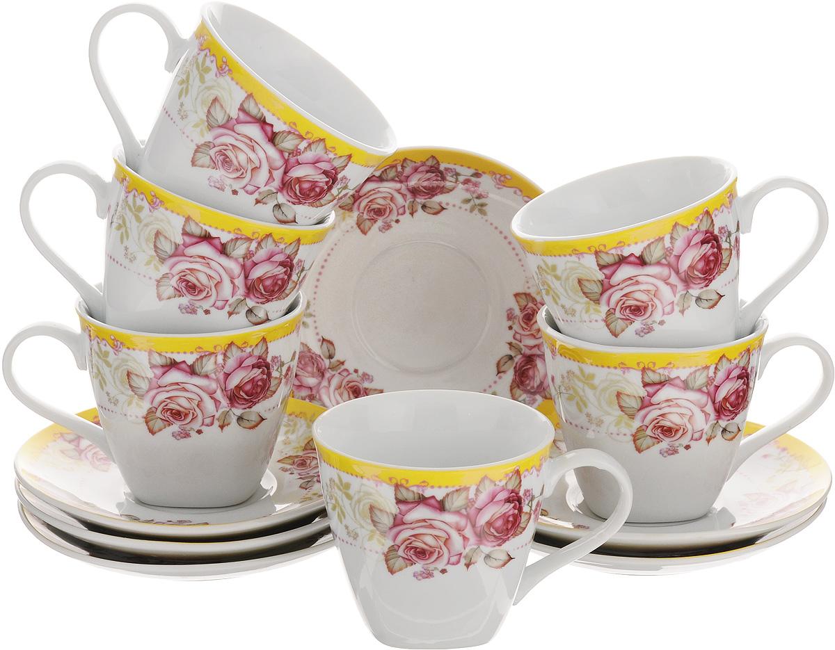 Набор чайный Loraine, 12 предметов. 2579425794Чайный набор Loraine выполнен из высококачественного фарфора белого цвета и украшен нежным цветочным рисунком. В набор входит 6 чашек и 6 блюдец. Изящный дизайн и красочность оформления придутся по вкусу и ценителям классики, и тем, кто предпочитает утонченность и изысканность. Чайный набор - идеальный и необходимый подарок для вашего дома и для ваших друзей в праздники, юбилеи и торжества. Он также станет отличным корпоративным подарком и украшением любой кухни. Набор упакован в подарочную коробку, задрапированную белой атласной тканью. Такой чайный набор станет прекрасным украшением стола, а процесс чаепития превратится в одно удовольствие. Объем чашки: 220 мл. Диаметр чашки (по верхнему краю): 8,5 см. Высота чашки: 7,5 см. Диаметр блюдца: 13,5 см.