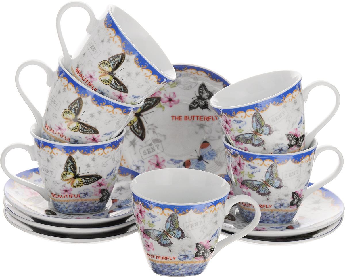 Набор чайный Loraine, 12 предметов. 2579625796Чайный набор Loraine выполнен из высококачественного фарфора белого цвета, украшен нежным цветочным рисунком и изображением бабочек. В набор входит 6 чашек и 6 блюдец. Изящный дизайн и красочность оформления придутся по вкусу и ценителям классики, и тем, кто предпочитает утонченность и изысканность. Чайный набор - идеальный и необходимый подарок для вашего дома и для ваших друзей в праздники, юбилеи и торжества. Он также станет отличным корпоративным подарком и украшением любой кухни. Набор упакован в подарочную коробку, задрапированную белой атласной тканью. Такой чайный набор станет прекрасным украшением стола, а процесс чаепития превратится в одно удовольствие. Объем чашки: 220 мл. Диаметр чашки (по верхнему краю): 8,5 см. Высота чашки: 7,5 см. Диаметр блюдца: 13,5 см.