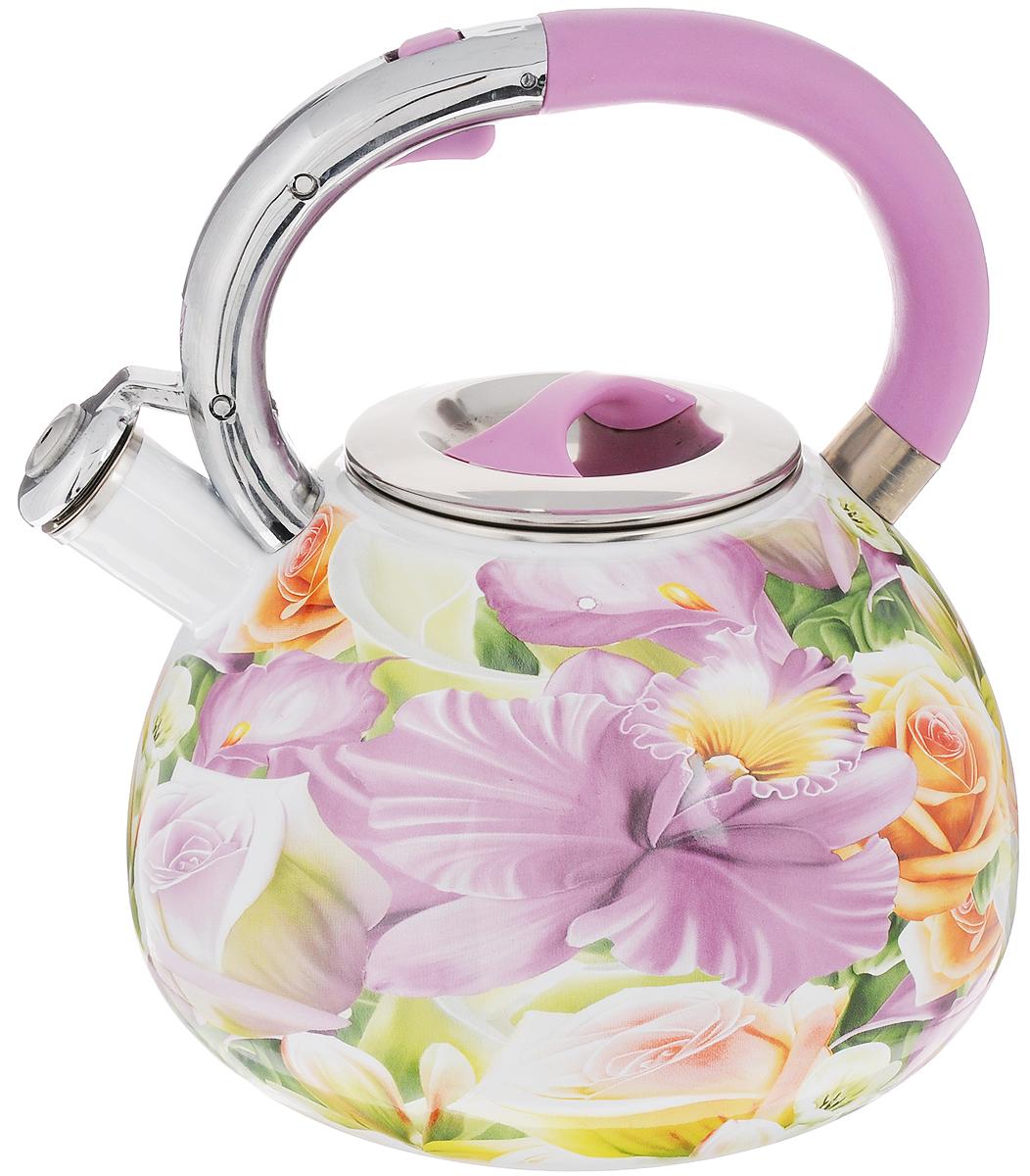 Чайник эмалированный Mayer & Boch, со свистком, 3,5 л. 2385423854Чайник со свистком Mayer & Boch изготовлен из высококачественной углеродистой стали. Корпус чайника имеет эмалированное покрытие с элегантным цветочным рисунком. Носик чайника оснащен откидным свистком, звуковой сигнал которого подскажет, когда закипит вода. Это освободит вас от непрерывного наблюдения за чайником. Свисток приподнимается с помощью специального механизма на ручке чайника. Эргономичная ручка выполнена из пластика. Подходит для всех видов плит, включая индукционные. Изделие можно мыть в посудомоечной машине. Высота чайника (без учета ручки и крышки): 14,5 см. Высота чайника (с учетом ручки и крышки): 23,5 см. Диаметр основания чайника: 19 см. Диаметр чайника (по верхнему краю): 10,5 см.