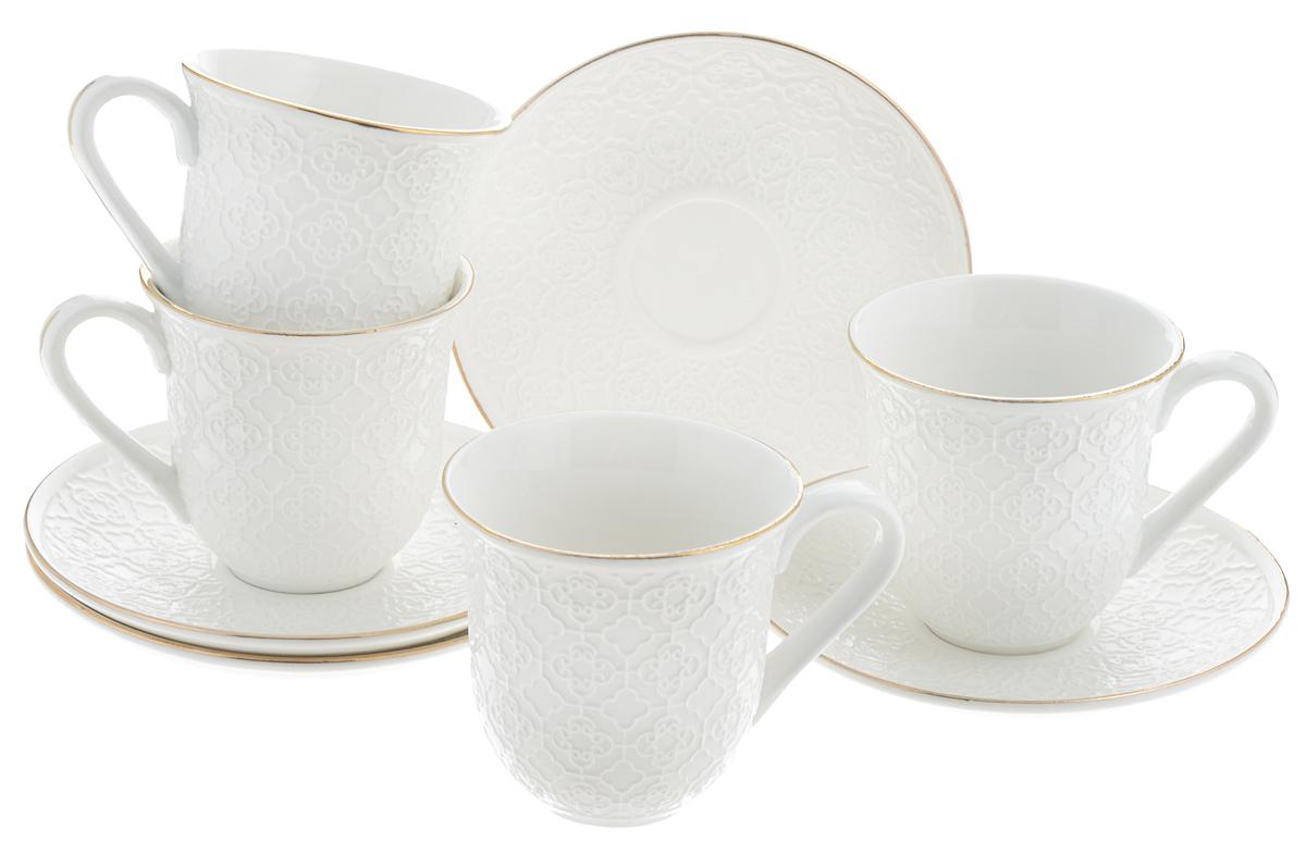 Набор чайный Loraine, 8 предметов. 2577425774Чайный набор Loraine состоит из 4 чашек и 4 блюдец, выполненных из высококачественного костяного фарфора. Изделия прекрасно дополнят сервировку стола к чаепитию. Благодаря изысканному дизайну и качеству исполнения такой набор станет замечательным подарком для ваших друзей и близких. Набор упакован в подарочную коробку, задрапированную белой атласной тканью. Объем чашки: 240 мл. Диаметр чашки (по верхнему краю): 8,2 см. Высота чашки: 8 см. Диаметр блюдца: 14,4 см. Высота блюдца: 2 см.