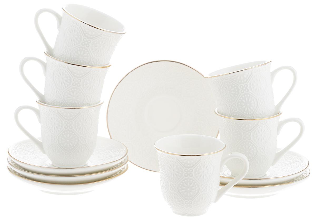 Набор кофейный Loraine, 12 предметов. 2577225772Кофейный набор Loraine состоит из 6 чашек и 6 блюдец. Изделия выполнены из высококачественного костяного фарфора и оформлены золотистой каймой. Такой набор станет прекрасным украшением стола и порадует гостей изысканным дизайном и утонченностью. Набор упакован в подарочную коробку, задрапированную внутри белой атласной тканью. Каждый предмет надежно зафиксирован внутри коробки. Кофейный набор Loraine идеально впишется в любой интерьер, а также станет идеальным подарком для ваших родных и близких. Объем чашки: 90 мл. Диаметр чашки (по верхнему краю): 6,5 см. Высота чашки: 6 см. Диаметр блюдца (по верхнему краю): 11,5 см. Высота блюдца: 2 см.