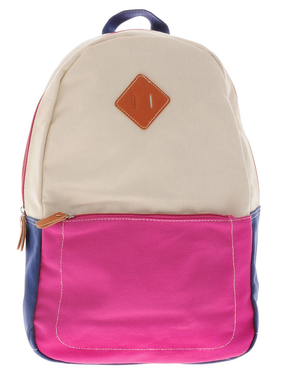 Centrum Рюкзак детский цвет светло-бежевый розовый синий86910Рюкзак Centrum выполнен из натурально хлопка яркой расцветки. Рюкзак имеет одно вместительно отделение, которое застегиваются на молнию. Внутри отделения имеется большой накладной карман без застежки. На лицевой стороне рюкзака расположен большой накладной карман на молнии. Рюкзак оснащен текстильной ручкой для удобной переноски и широкими плечевыми ремнями. Ремни можно регулировать по длине.