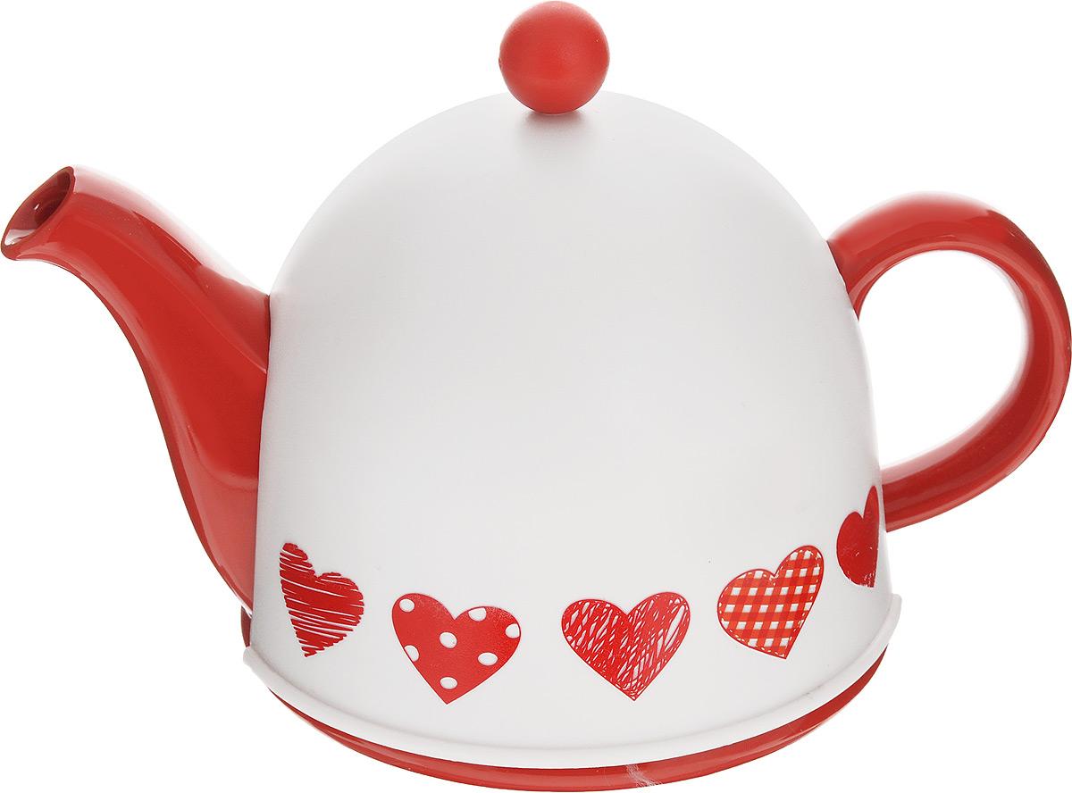 Чайник заварочный Mayer & Boch, с термоколпаком, цвет: белый, красный, 800 мл24313Заварочный чайник Mayer & Boch, выполненный из керамики, позволит вам заварить свежий, ароматный чай. Чайник оснащен сетчатым фильтром из нержавеющей стали. Он задерживает чаинки и предотвращает их попадание в чашку. Сверху на чайник одевается термоколпак из пластика с тканевой прослойкой. Он поможет дольше удерживать тепло, а значит, вода в чайнике дольше будет оставаться горячей, а полезные и ароматические вещества полностью сохранятся в напитке. Заварочный чайник Mayer & Boch послужит хорошим подарком для друзей и близких. Высота чайника (без учета ручки и крышки): 9,5 см. Размер термоколпака: 15 см х 15 см х 13 см.