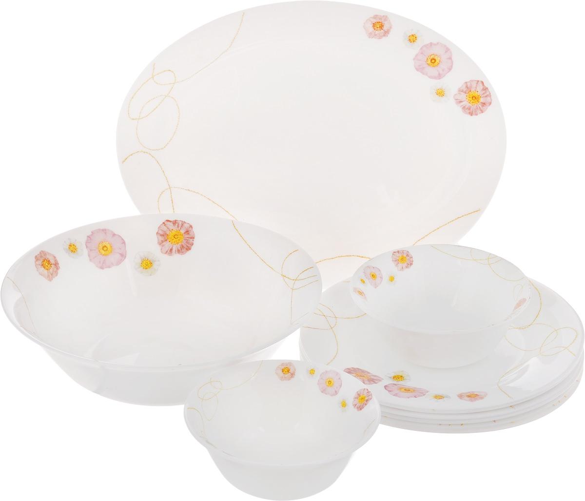 Набор столовой посуды Patricia Пинк Флауэр, 10 предметовIM11-0301Набор Patricia Пинк Флауэр состоит из 6 десертных тарелок, 2 малых салатников, блюда и большого салатника. Изделия, выполненные из высококачественной стеклокерамики, имеют классический дизайн с изящным изображением цветов. Посуда отличается прочностью, гигиеничностью и долгим сроком службы, она устойчива к появлению царапин и резким перепадам температур. Набор столовой посуды Patricia Пинк Флауэр - это не только яркий и полезный подарок для родных и близких, это также великолепное дизайнерское решение для вашей кухни или столовой. Не рекомендуется мыть в посудомоечной машине. Можно использовать в микроволновой печи и холодильнике. Диаметр малого салатника (по верхнему краю): 12,5 см. Высота малого салатника: 5 см. Диаметр большого салатника (по верхнему краю): 22,5 см. Высота большого салатника: 6,5 см. Диаметр десертной тарелки (по верхнему краю): 20 см. Высота десертной тарелки: 1,5 см. Размер...