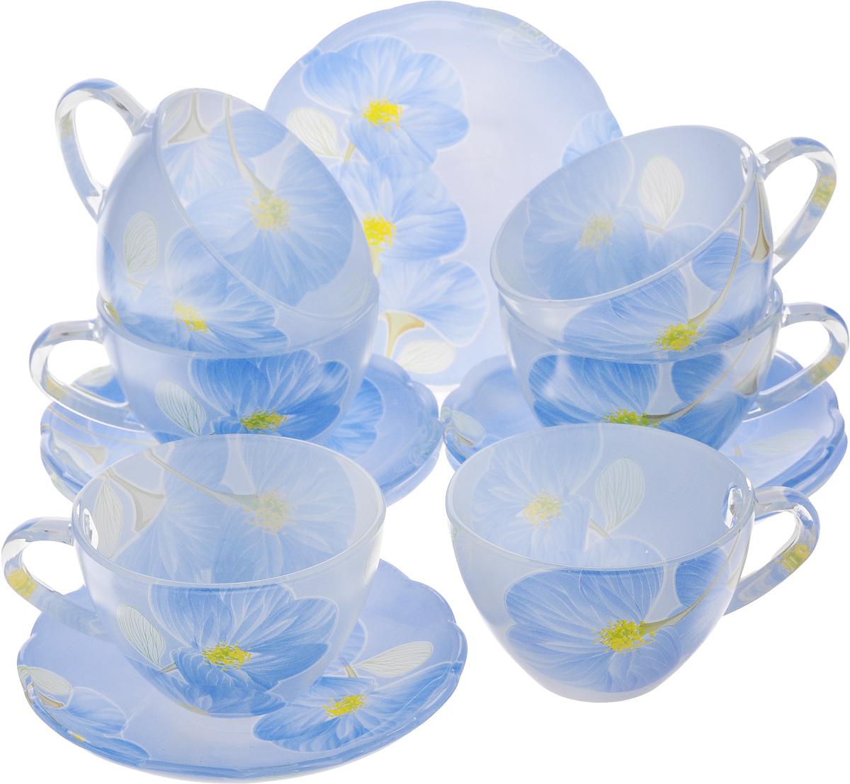 Набор чайный Loraine, 12 предметов. 2412324123Чайный набор Loraine состоит из 6 чашек и 6 блюдец, выполненных из высококачественного стекла. Изделия прекрасно дополнят сервировку стола к чаепитию. Благодаря изысканному дизайну и качеству исполнения такой набор станет замечательным подарком для ваших друзей и близких. Объем чашки: 200 мл. Диаметр чашки по верхнему краю: 9 см. Высота чашки: 6 см. Диаметр блюдца: 13 см. Высота блюдца: 2 см.