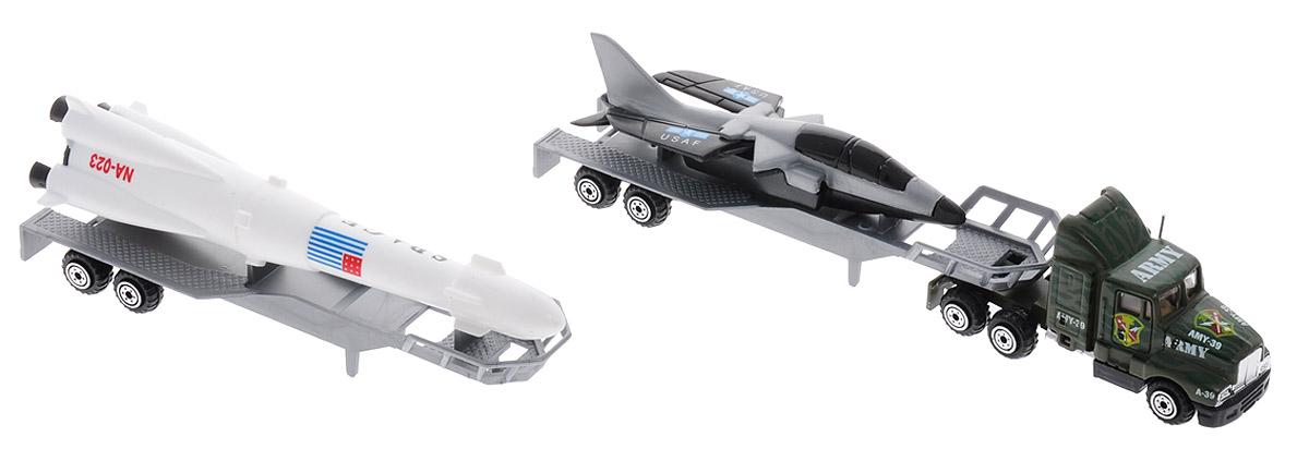 Pro-Engine Трейлер с прицепом Самолет и РакетаPT2000_ракетаТрейлер с прицепом, самолетом и ракетой Pro-Engine непременно понравится любому мальчику. Самолет и ракета расположены на специальных прицепах, которые можно присоединить к кабине. Крылья самолета раздвигаются. Кабина трейлера выполнена из металла, прицепы - из прочного пластика. Игрушка изготовлена из качественных и безопасных материалов с высокой степенью детализации. С таким набором малыш сможет устраивать различные соревнования и придумывать захватывающие сюжеты для игр.